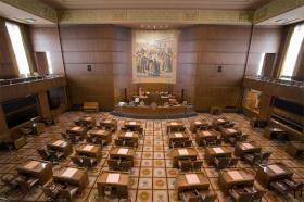 The Senate Chamber at the Oregon State Capitol in Salem, Ore.