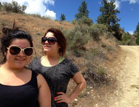Kimberly Carrillo and her friend Lily Esuivel were headed down Saddle Rock near Wenatchee. Carrillo says she's been up on this trail many times, but this is Esuivel's first time. Wentachee agencies have launched a campaign to get more Latino, low-income and children hiking on nearby trails here.