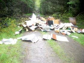 Vandalism and illegal dumping like this on the St. Helens Tree Farm was a key reason for the new access policy says Weyerhaeuser.