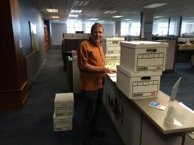 Chief petitioner Jim Kelly turns in six boxes of signatures for the Top Two primary initiative.