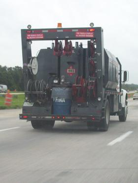 A truck carrying diesel fuel.
