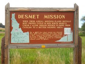 Vandals defaced a sign off Highway 95 on the Coeur d'Alene Indian Reservation.