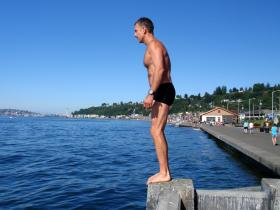 Swimmer Wayne Kinslow prepares to dive into Puget Sound at Alki Beach, a place he personally paid to have tested for traces of Fukushima radiation.