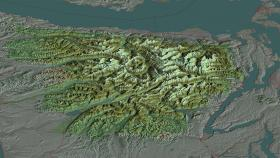 A 3-D map of the Olympic National Forest.