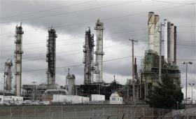 Charred towers and machinery at the Tesoro Corp. refinery in Anacortes, Washington, following the blast.