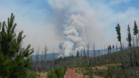 A view of the Bridge 99 Complex fire along Green Ridge near the Lookout and east of Camp Sherman and the Metolius River.