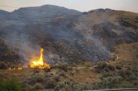 A view of the Mills Canyon fire, north of Wenatchee, Washington.