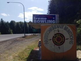 Campaign signs for Democrat Irene Bowling are visible along Hwy 101 in Mason County, Washington.