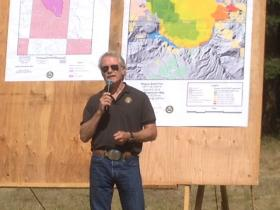 Governor John Kitzhaber speaking at the Howard Prairie Lake campground.