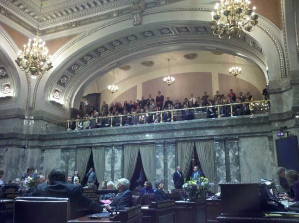 The Senate gallery was packed as Republican Senators took over the chamber from Democrats.