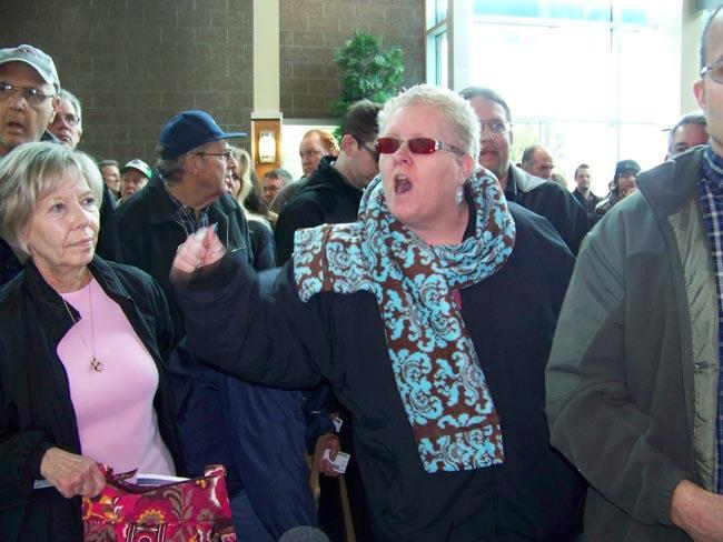 Republican Kim Holdiman of Kennewick, and others were turned away from the Benton County caucus on Saturday.