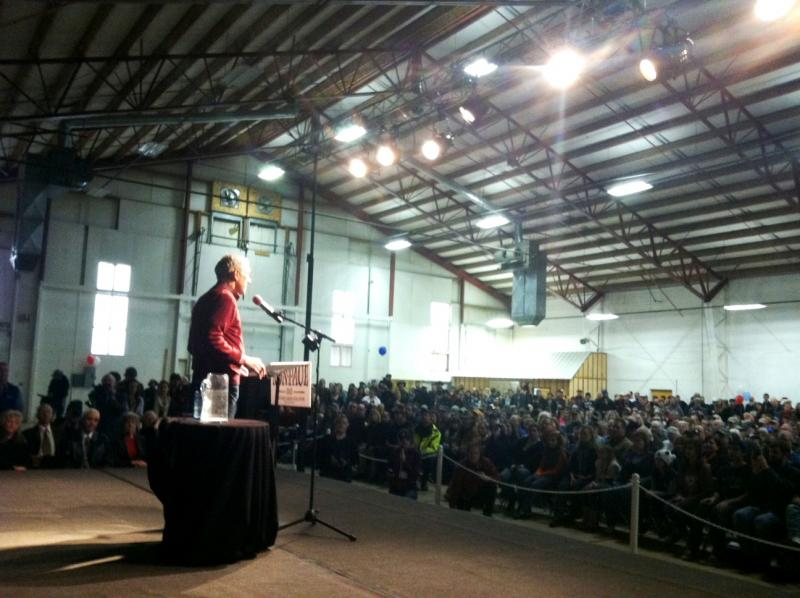 Republican presidential hopeful Ron Paul speaks to a crowd in Sandpoint, Idaho.