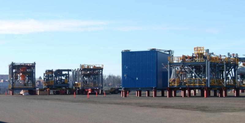 "Alberta-bound ""megaloads"" stranded at the Port of Lewiston last winter."