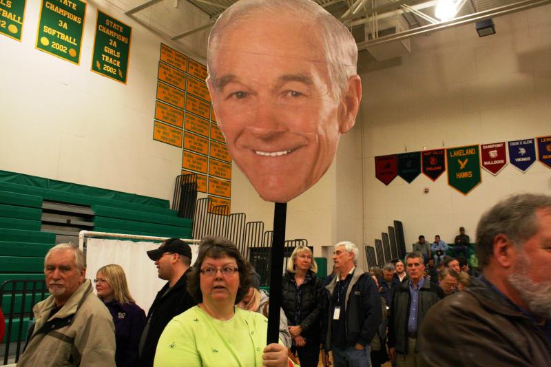 Ron Paul devotees, like Mary White of Rathdrum, Idaho, turned out in strong numbers for the state's presidential caucuses Tuesday night.