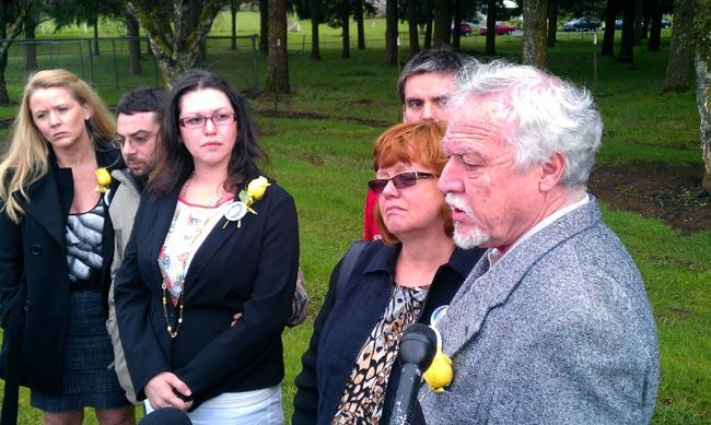 Family members of murder victim Erin Reynolds address the media following an Oregon Parole Board hearing.