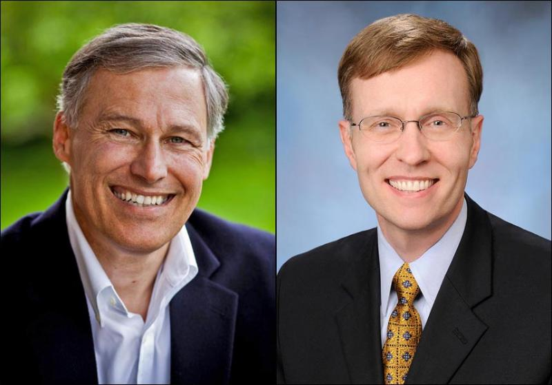 Democrat Jay Inslee (left) and Republican Rob McKenna are wrangling over debates in the Washington governor's race.