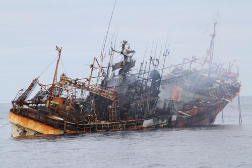 Ryou-un Maru, the derelict fishing vessel sank at 6:15 pm in 6,000 feet of water.