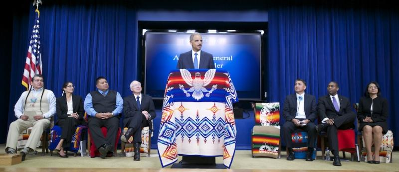 Attorney General Eric Holder announced the settlement Wednesday of breach-of-trust lawsuits filed by 41 American Indian tribes against the United States.