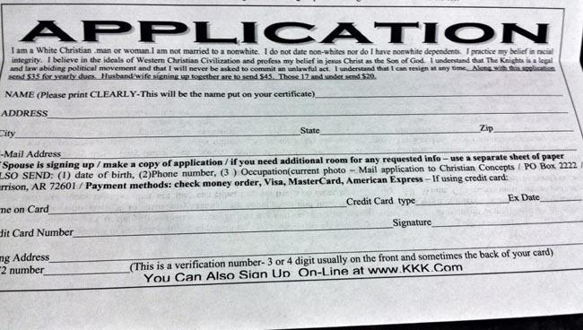 Cherie Buckner-Webb posted this KKK application she received in the mail on her Facebook page on April 7.