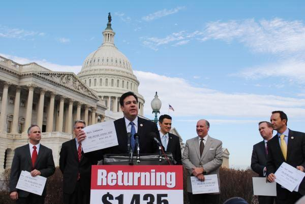 Republican Congressman Raúl Labrador of Idaho holds a press conference with fellow conservative freshman members in February.