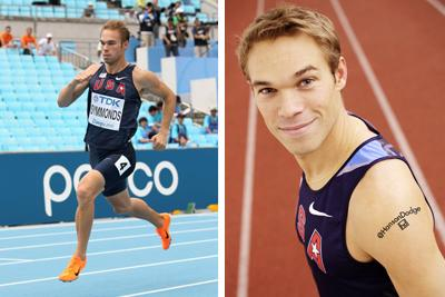 Olympian Nick Symmonds sports the results of an eBay auction on his left shoulder.