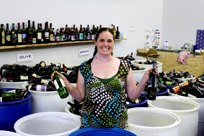 Terra Cressey, 37, of Sandpoint, Idaho owns Glass Roots Recycling, a business that finds creative ways to use glass bottles that would otherwise end up in the local landfill.