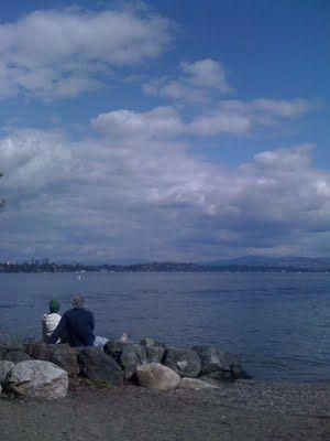 Meg Holmes and Andrew Taylor at Lake Washington.