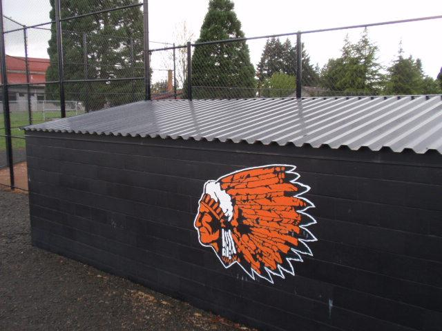 Molalla High School has removed Native American imagery from most sports uniforms, but the logo remains on some athletic facilities.