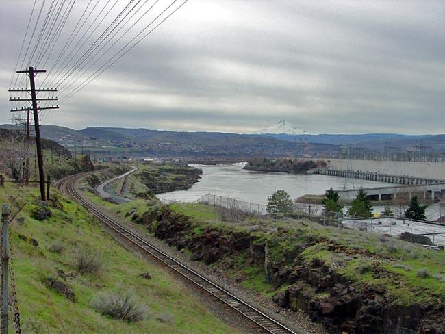 The Dalles Dam on the Columbia River near the west end of the Columbia River Gorge.