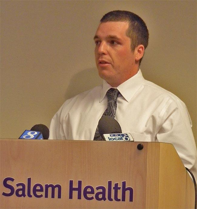 Matt Harp describes his former addiction to prescription painkillers during a news conference at Salem Hospital.