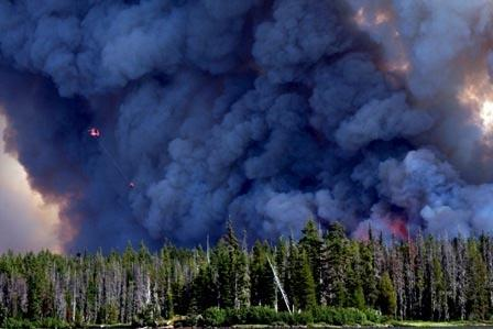 A view of the 2011 Shadow Lake fire in central Oregon.