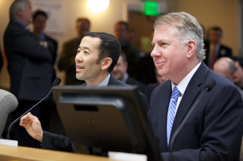 <b>State Sen. Ed Murray (right) and Michael Shiosaki (left)</b>