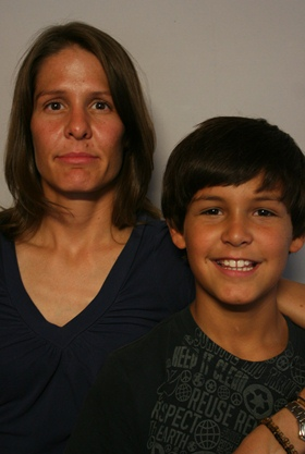 Anand Hernandez, 11, with his mother Saarah Avant