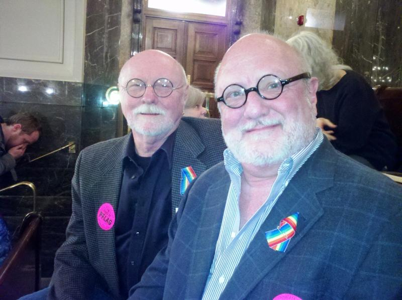 Richard Cannon and Richard Bullock have been together nearly 25 years, and watched the gay marriage vote from the Senate gallery.