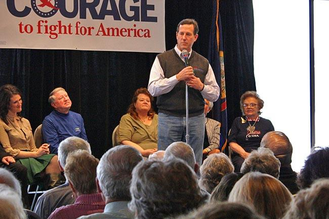 Rick Santorum speaks to a packed room of supporters in Coeur d'Alene, Idaho.