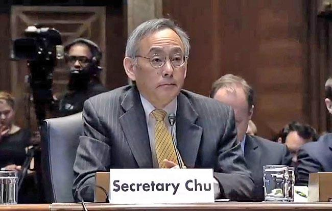 U.S. Energy Secretary Steven Chu appears before the Senate Energy and Natural Resources Committee.