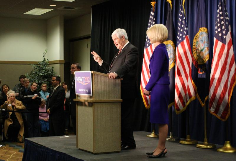 Newt Gingrich and his wife Callista attended a campaign rally in Coeur d'Alene, Idaho, Thursday evening.