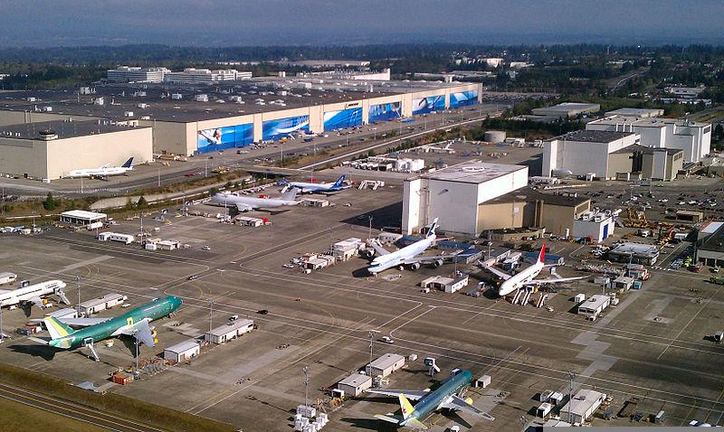 Aerial photo of the Boeing Everett factory.