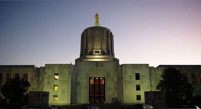 The Oregon State Capitol Building in Salem, Oregon.