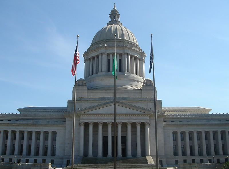 Washington State Capital Legislative Building.  The legislature is moving bills behind the scenes to get bills through quickly near the end of it's session.