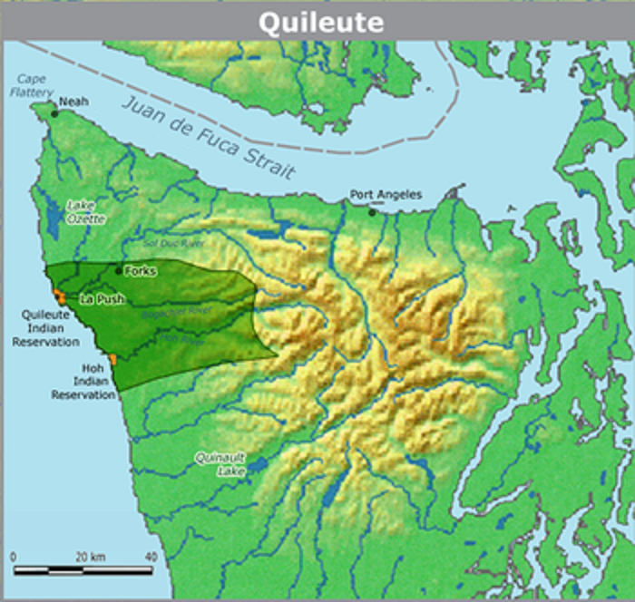 The Quileute Indian Reservation located on Washington's Pacific coast.