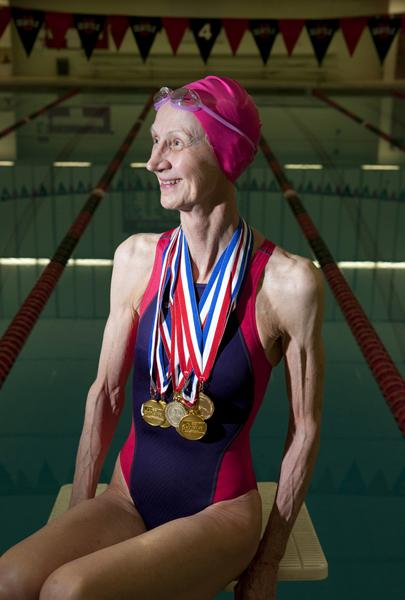 Suzie Aldrich, 69, of Walla Walla, is the gold record holder for backstroke for the Senior Games in several Northwest states.