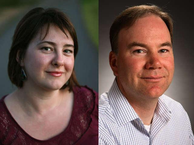 Anna King (left), and Tom Banse (right), winners of the 2011 Northwest Society of Professional Journalists Awards