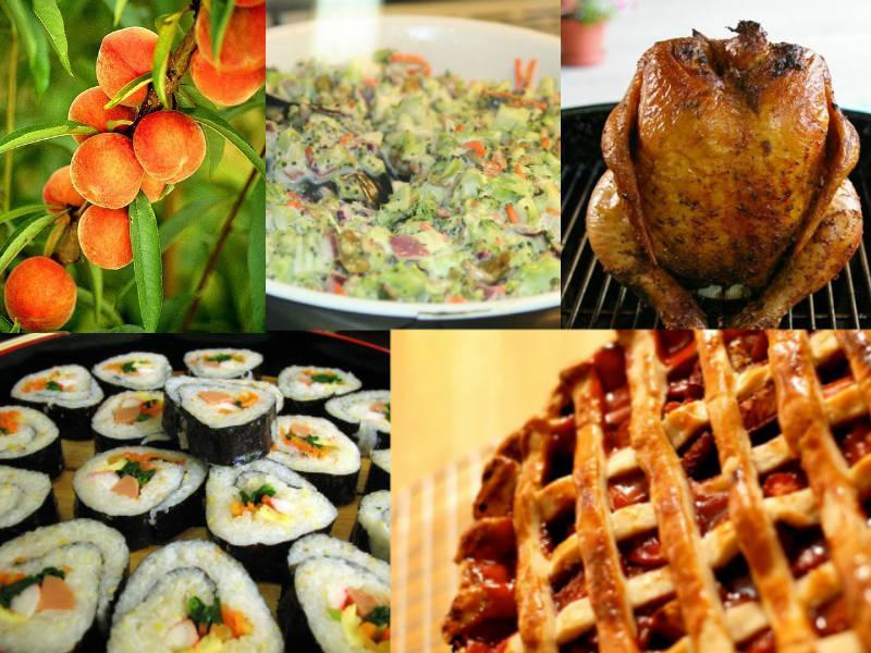 Clockwise from top left: Summer Peach Caprese Salad, Broccoli Salad, Beer Can Chicken, Strawberry Rhubarb Pie, Kim-Bap.