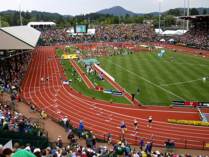 Historic Hayward Field in Eugene hosted the 2012 Olympic Track & Field Trials.