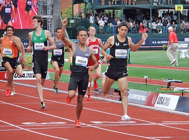 Matthew Centrowitz (first from right) and Andrew Wheating (second from left) finish second and third at the men's 1,500-meters.