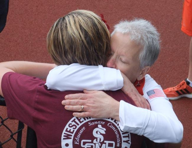 Erin Gray is consoled by her mother, Kathleen, after the Olympic Trials.