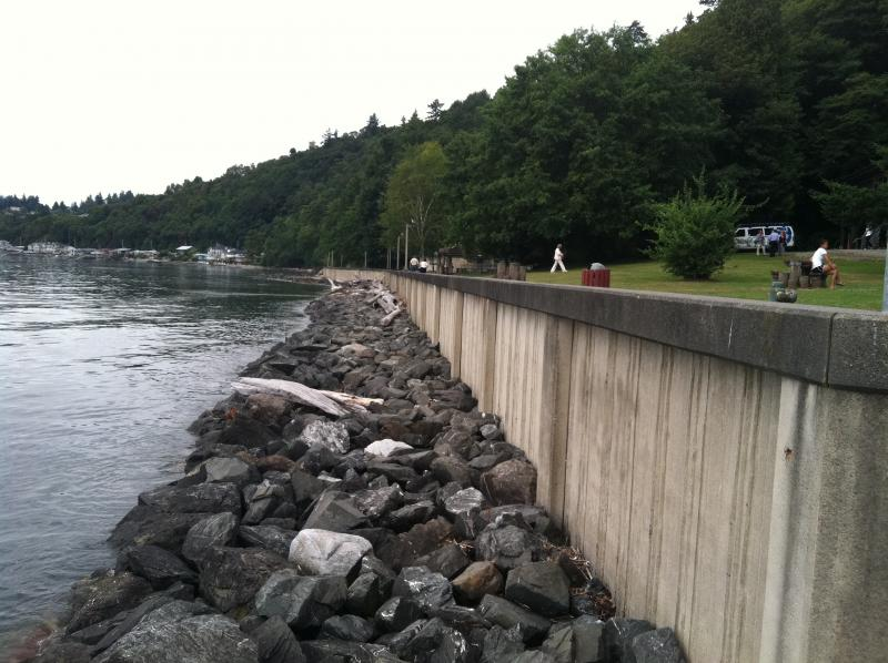 Burien's Seahurst Park seawall, slated for demolition this fall.