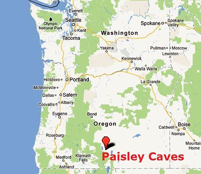Google Maps image showing the location of Paisley Caves.