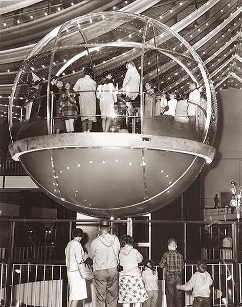 John Gessner, one of the operators of the Bubbleator at the Seattle World's Fair in 1962. 100 passengers at time rode the circular elevator to the World of Tomorrow in the Washington State Coliseum.
